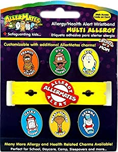 Allermates Kids Allergy Health Alert Multi Charm Wristband