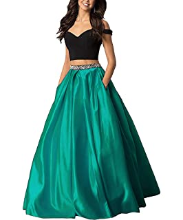 5a989b072 Lady Dress Off The Shoulder Beaded Prom Dress Two Piece Long Satin Evening  Gowns Formal with