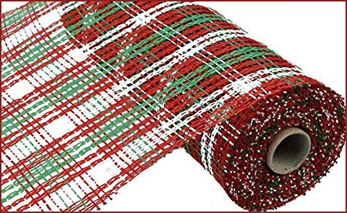 10 Inch x 30 Feet Christmas Deco Poly Burlap Stripe Check Mesh Ribbon (Red White Lime Green) -