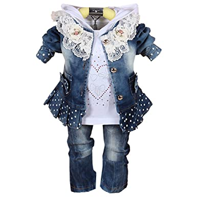 c8dd9308935 Scothen Baby girl 3pcs veste+Tutu+pantalon denim jeans haut robe cow ...