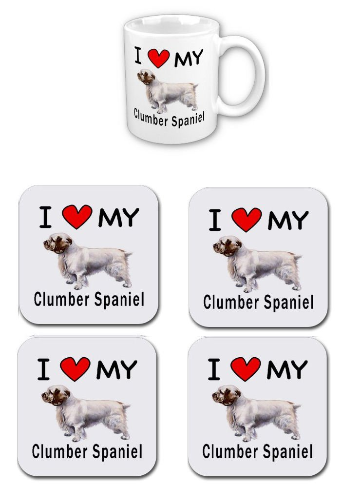 I Love My Clumber Spaniel Coffee Cup With Matching Coaster Set 1