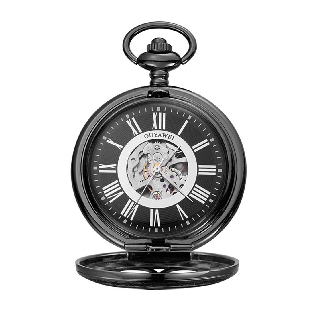 Funique Unisex Roman Numerals Classic Mechanical Pocket Watch with Perspective Bottom Cover(Black 2)