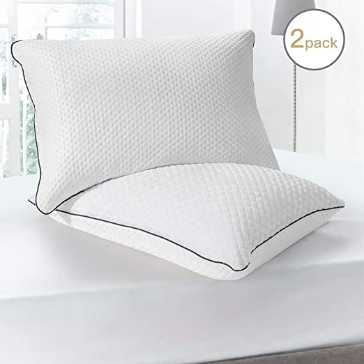 Queen Size Soft Plush Fiber Fill For Side//Back Sleeper Bed Pillow Set of 2