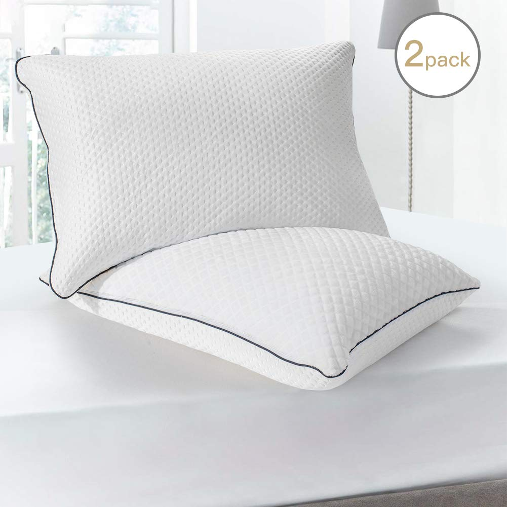 BedStory Pillows for Sleeping 2 Pack, Cooling Bed Pillows Queen Size, Hotel Quality Hypoallergenic Pillow with Down Alternative Soft & Plush Fiber Fill, Good Pillows for Back and Side Sleepers