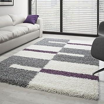 Hochflor Langflor Wohnzimmer Shaggy Teppich Florhöhe 3cm Grau Weiss Lila    160x230 Cm