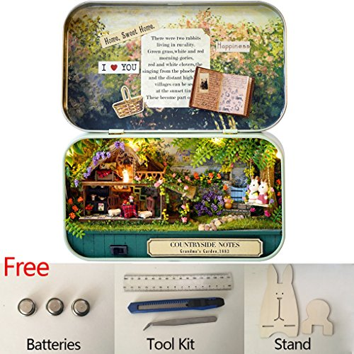 Countryside Boxes (Box Theater Wooden Handmade Theme Dollhouse Miniature DIY Exquisite Retro Tin Box Art Handicraft Gift Cases Model & Furniture (B1 Countryside Notes))