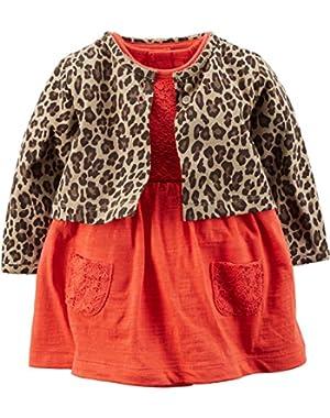 Baby Girls' 2-Piece Bodysuit Dress & Cardigan Set (24 Months, Cheetah)