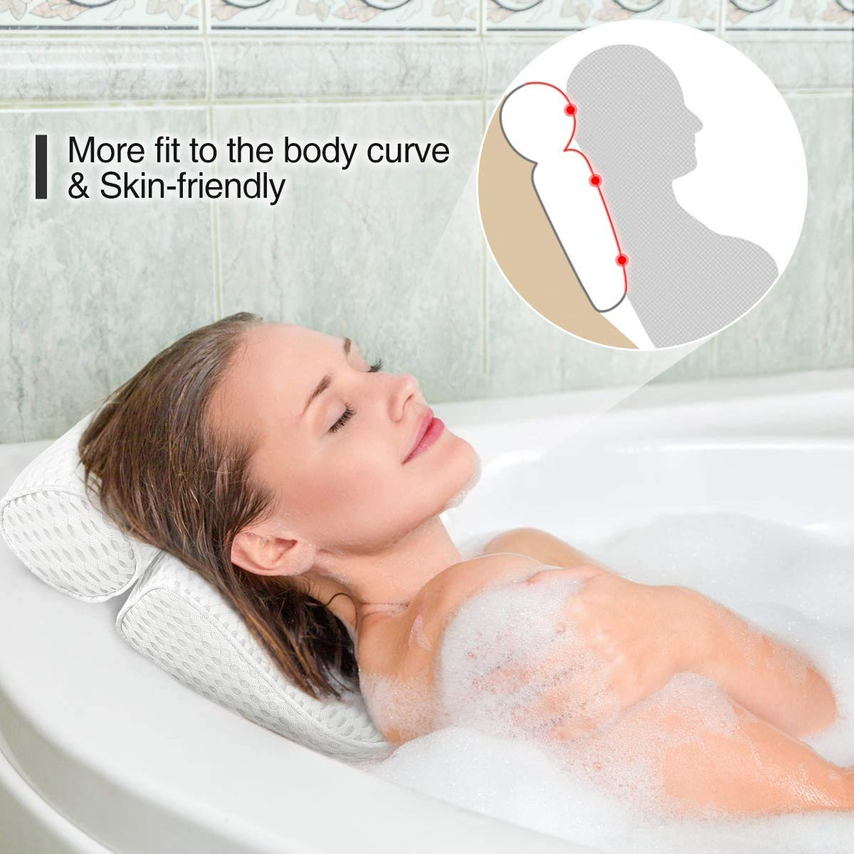 Fitheaven Bath Pillow for Bathtub. Tub Pillow for Women & Men, with 3D Air Mesh Breathable, Helps Support Head, Neck, and Back : Beauty