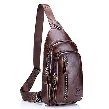 32c8e397df61 Hebetag Vintage Leather Sling Bag for Men Backpack Crossbody Shoulder Chest  Bags Day Pack Backpacks Brown