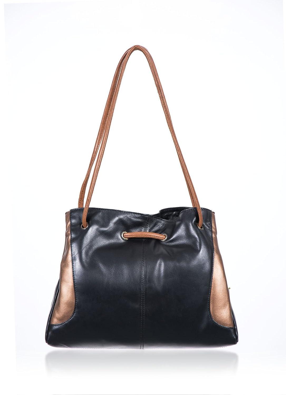 16843fc989d9f GiGi Metallic Ring Detail Shoulder Bag in Black  Amazon.co.uk  Luggage