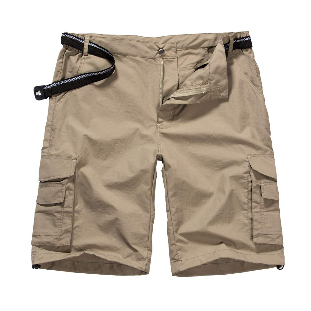Men's Outdoor Casual Expandable Waist Lightweight Water Resistant Quick Dry Cargo Fishing Hiking Shorts #6013-Khaki,42 by Jessie Kidden