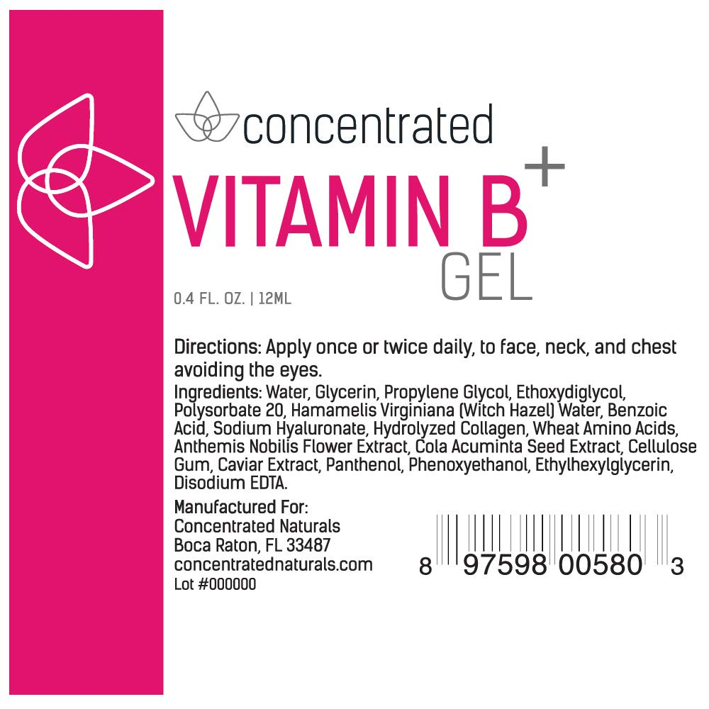 Amazon.com: Concentrated Naturals Vitamin B Gel for Face in an Easy to Use Targeted Applicator | Nourishing, Hydrating Formula w/Vitamin B, Collagen, ...