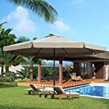 16 FT Aluminum Patio Umbrella Table Market Drape Umbrella with Crank and Cross Bar Set for Garden, Deck, Backyard, Pool, 8 Alu. Ribs, 100% Polyester Canopy by Sundale Outdoor (Tan) For Sale