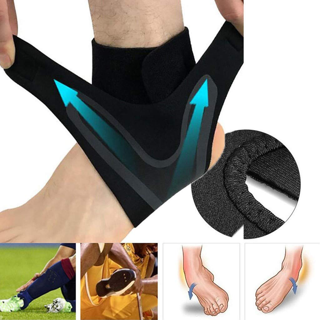 Usstore  1PC Sports Protect Ankle Socks Adjustable Anti-Sprain Ankle Support Elastic Brace Guard Football Basketball Sock (XL, B(Left))