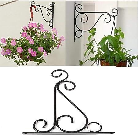 Iron Garden Wall Light Hanging Flower Plant Pot Bracket Hook Shelf Stand Holder
