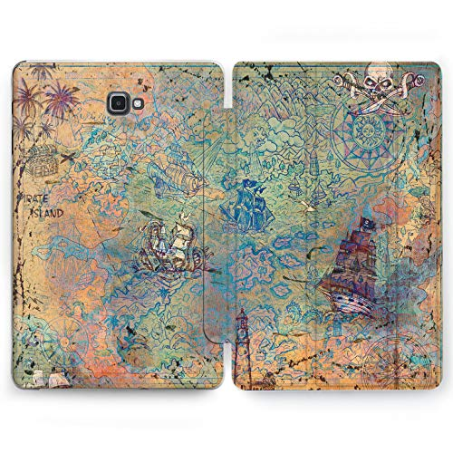 Wonder Wild Treasure Map Samsung Galaxy Tab S4 S2 S3 A E Smart Stand Case 2015 2016 2017 2018 Tablet Cover 8 9.6 9.7 10 10.1 10.5 Inch Clear Design Pirate Gold Chest Compass Battle Ships Skull Bones]()