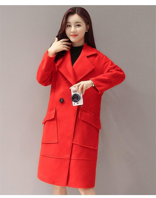 Allbebe Women's Elegant Notch Lapel Double Breasted Pocket Solid Long Wool Coat