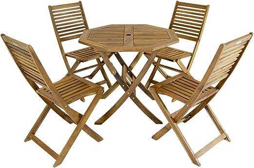 Charles Bentley Octogonal Table et Chaises 5X Set Fsc Acacia ...