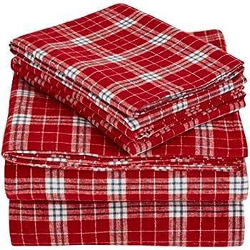 Pinzon Plaid Flannel Bed Sheet Set - King, Bordeaux Plaid