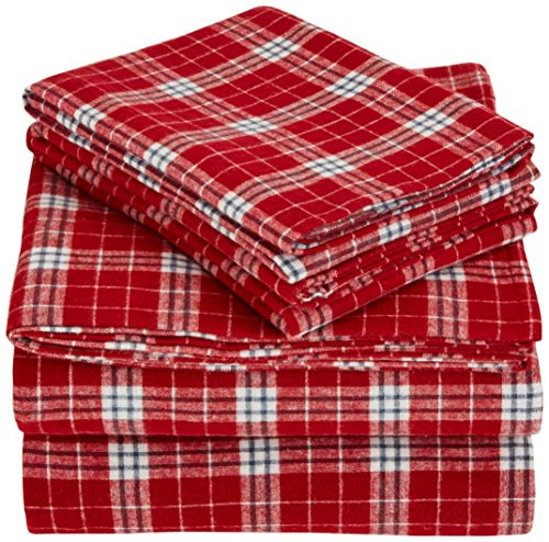 Pinzon 160 Gram Plaid Flannel Sheet Set - Queen, Cream/Red Plaid
