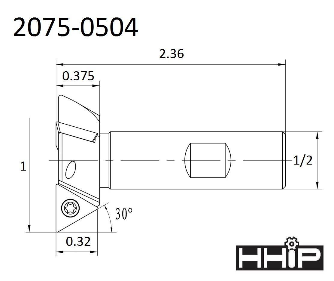 1 x 1//2 Shank HHIP 2075-0504 3 Flute 60 Degree Indexable Dovetail Cutter