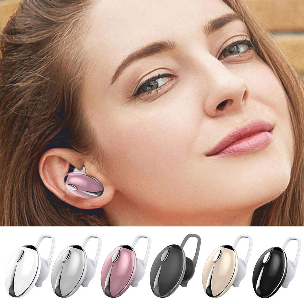 CROFULL Wireless Mini Bluetooth Headphone Stereo in-Ear Hands-Free Earphone, Beetle Headset Single with Mic Headphones (Color Box)