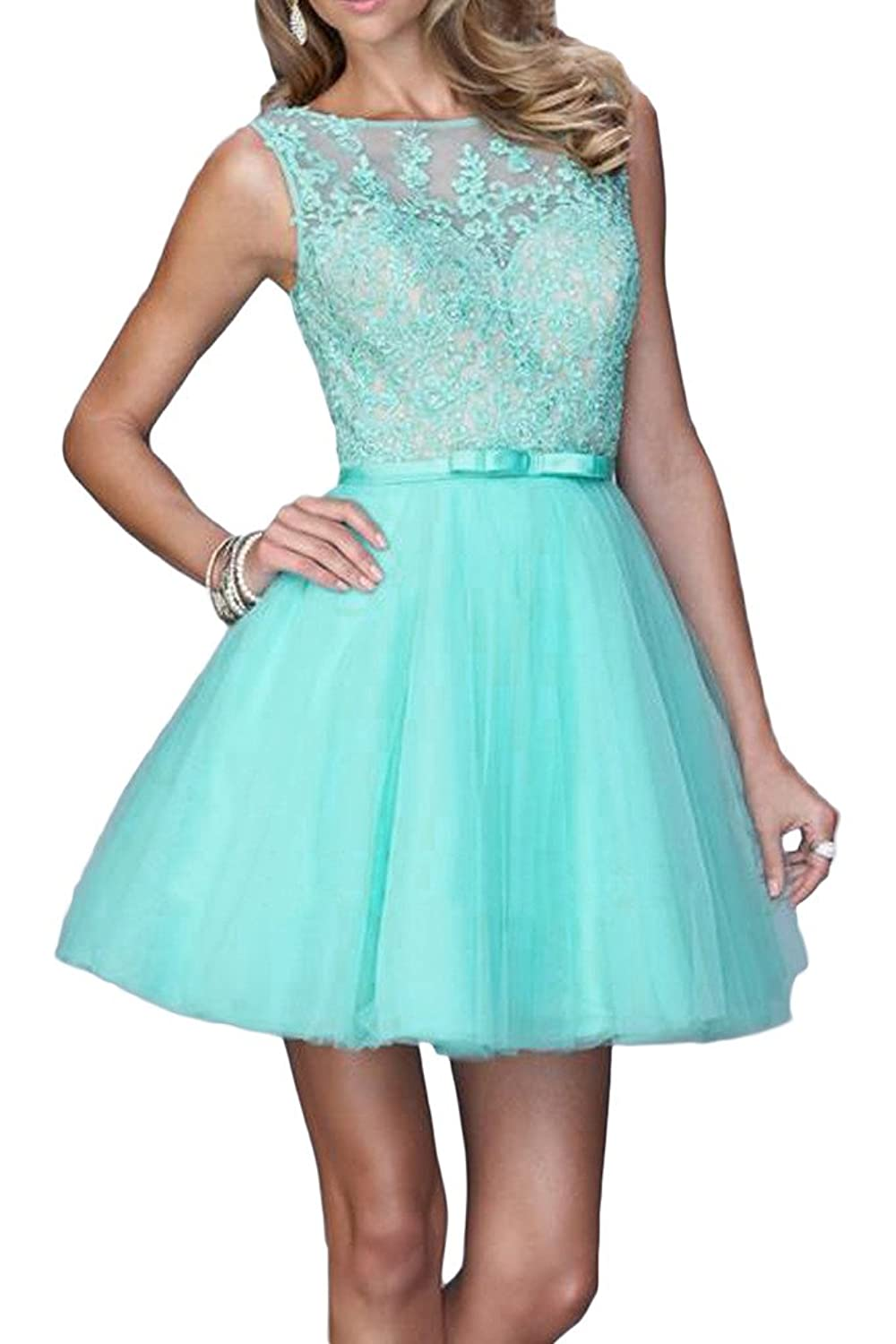 Ivydressing Lace and Tulle Prom Gowns Scoop Neck Ribbon Homecoming Dresses