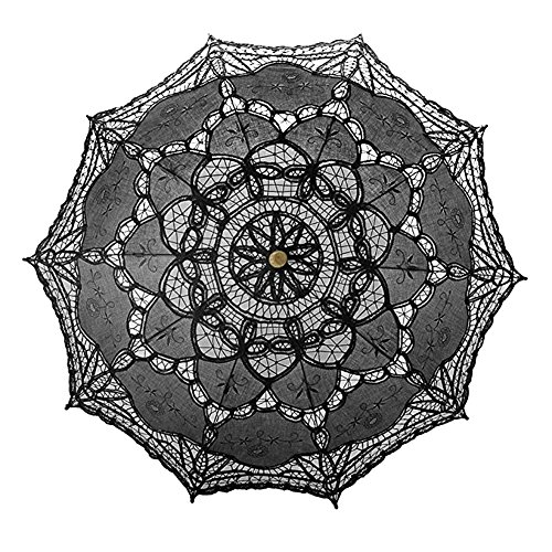 Ladeyi Lace Umbrellas, Handmade Bridal Parasol Umbrella Wedding Decoration (Black) by LADEY (Image #4)