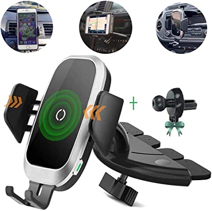 Wireless Car Charger CD Mount Galaxy S10 Plus S9 S8 S7 S6 Note 10 9 8 Qi Auto Clamping CD Player Phone Holder Air Vent Charger Compatible with 11 Pro XS Max XR X 8