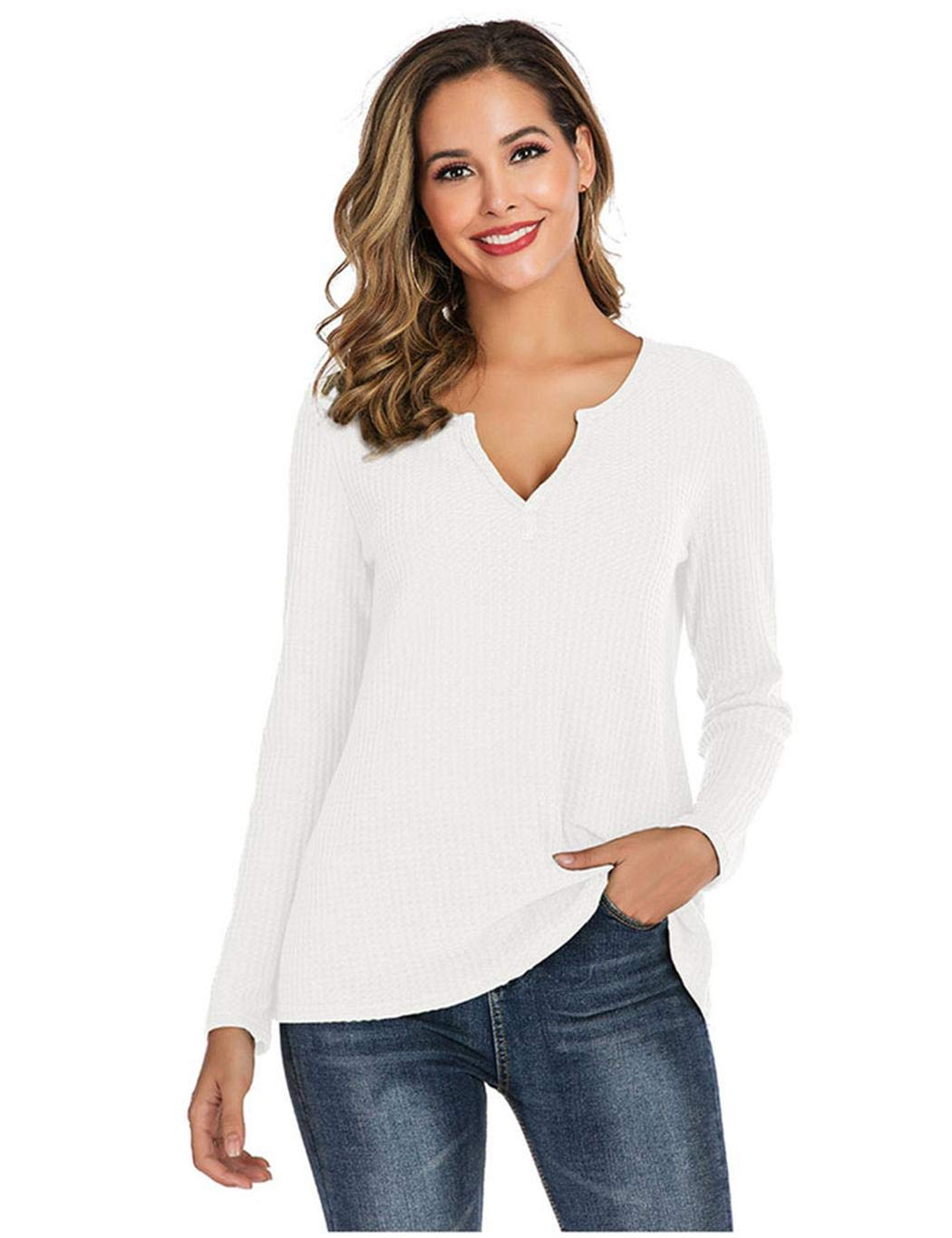 XioNiu Women Casual Long Sleeve Solid T-Shirt Autumn Winter V-Neck Loose Tops Knits & Tees White