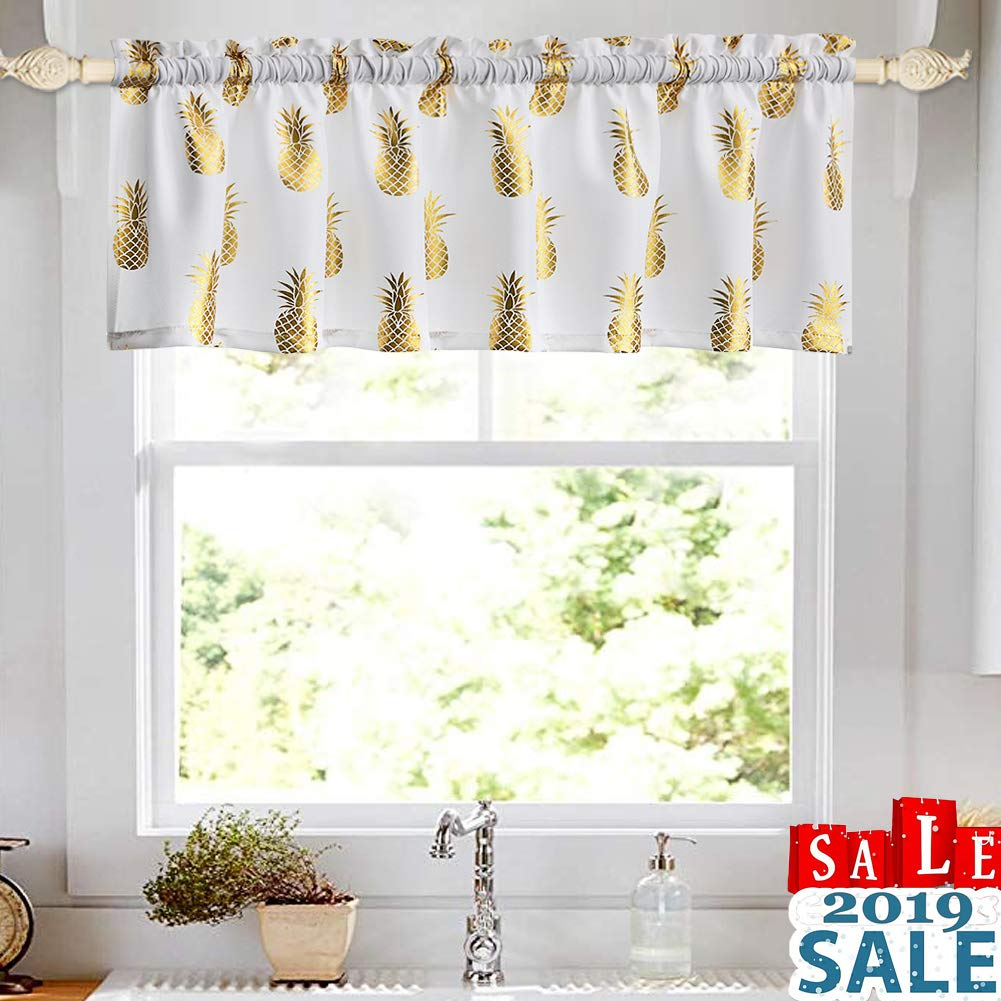 "oremila Kitchen Curtains for Windows Metallic Print Pineapple Valance for Bathroom Rod Pocket White 1 pc (15"" Valance, Pineapple)"