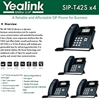 Yealink IPPhone SIP-T42S 4-Pack Dual-port Gigabit Ethernet PoE support