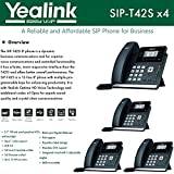 Yealink [4-Pack] T42S IP Phone, 12 Lines. 2.7-Inch Graphical LCD. Dual-Port Gigabit Ethernet, 802.3af PoE, Power Adapter Not Included (SIP-T42S-4)