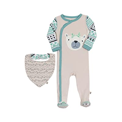 100% Cotton Tribal Aztec Bear Soft Baby Footed Pajamas Snap Front & Bib Bandana Set