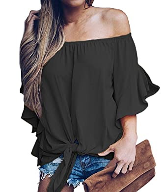 01129b1bcbea47 LuckyMore Women Sexy Solid Off The Shoulder Tops Short Sleeve Summer  Chiffon Blouse Tunic