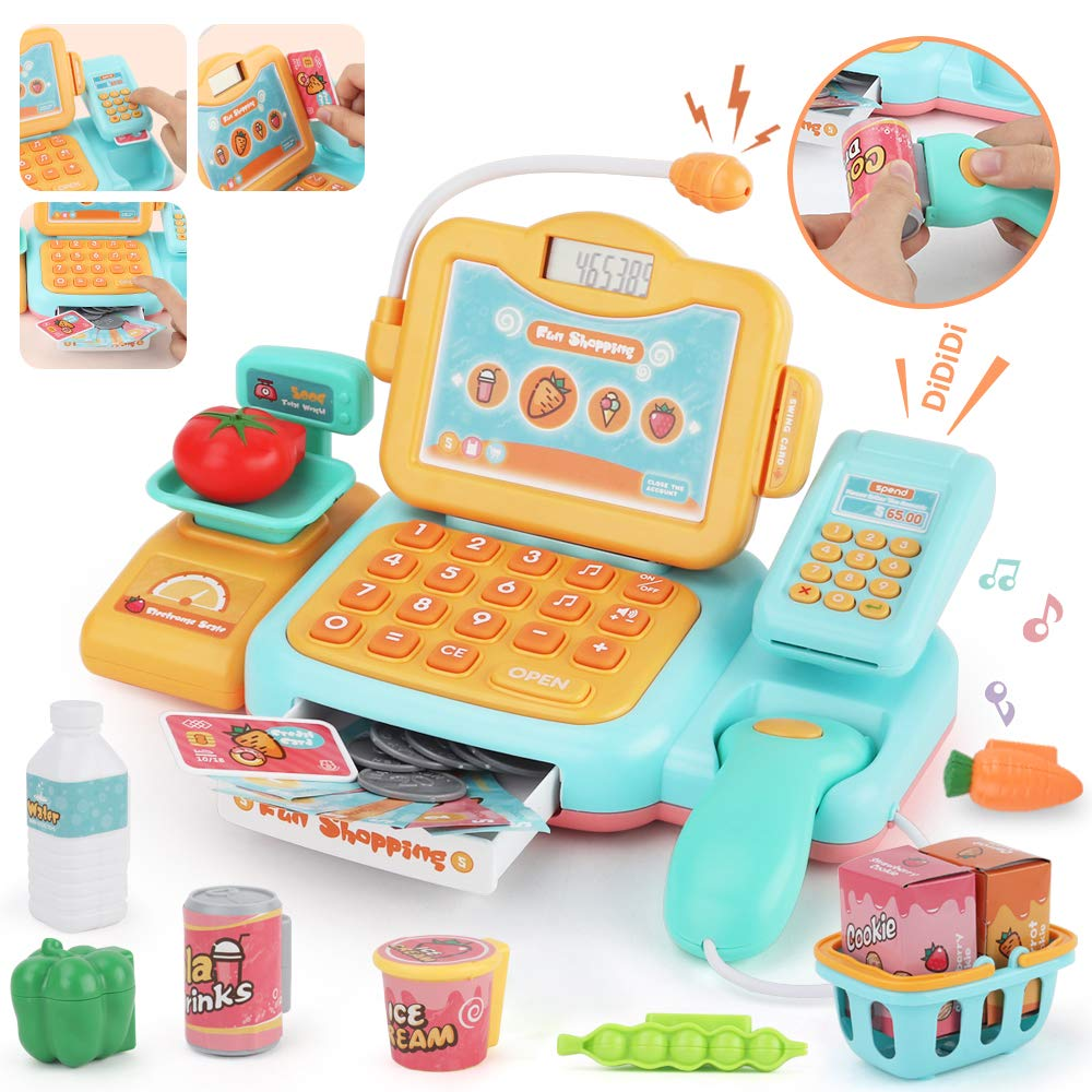 JoyGrow Smart Cash Register Pretend Play Supermarket Shop Toys with Calculator ,Working Scanner,Credit Card ,Play Food ,Money and More Educational Learning Toys (Yellow) by JoyGrow