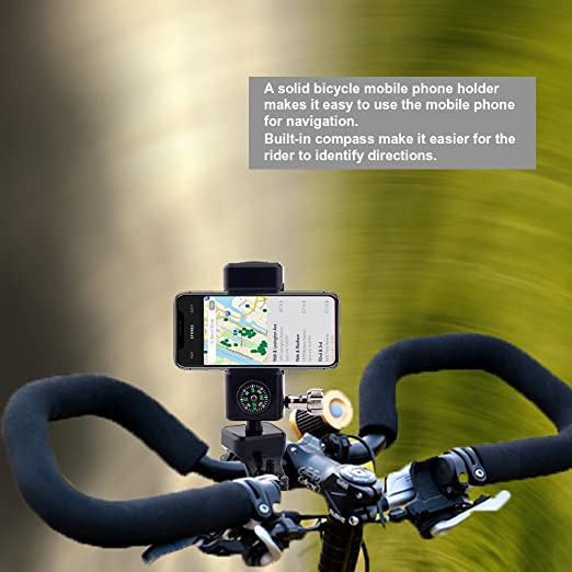 3 in 1 Bike Bicycle Phone Flashlight Holder Mount Bracket w// LED Light /& Compass
