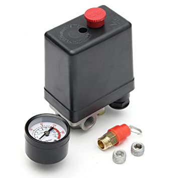 Bargain World 220v 1/BSP interruptor de presión del compresor de aire de una sola fase 4 Puerto 4 pulgadas con indicador de la válvula de seguridad: ...