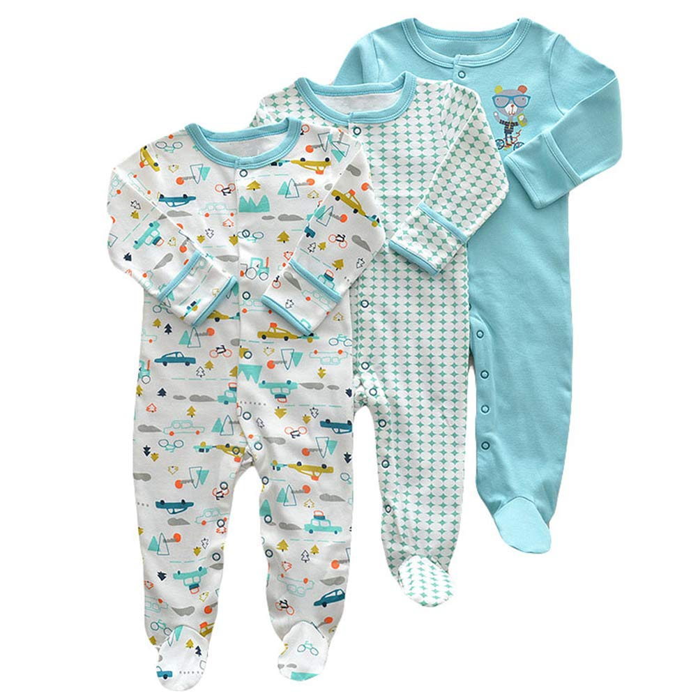 Aablexema Unisex Baby Footed Pajamas - 3 Packs Girls Boys Baby Footie Onesies Sleeper Newborn Cotton Sleepwear Infant Outfits