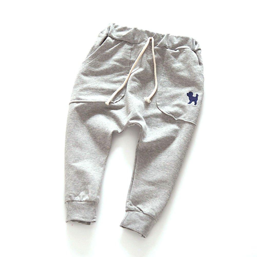 Urmagic Unisex Neonate Ragazzi Abbigliamento Toddler Cucciolo Ricamo Cotone Casuale Laceup Pantaloni Elastici Pantaloni Harem per 2-7 Anni