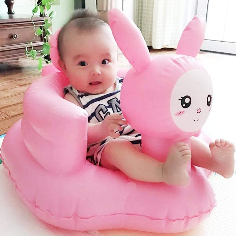 Baby Inflatable Chair Infant Bath Chair Seat Cute Pink Rabbit Training Seat Air Sofa for Toddler Built in Pump Bath Seat Portable Baby Play Sofa