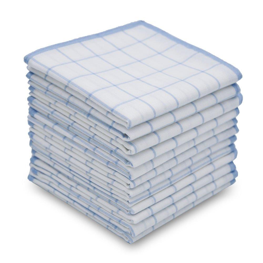 Neatpal 100% Cotton Men's Handkerchiefs Checker Pattern 12 Pieces NPH005-Blue