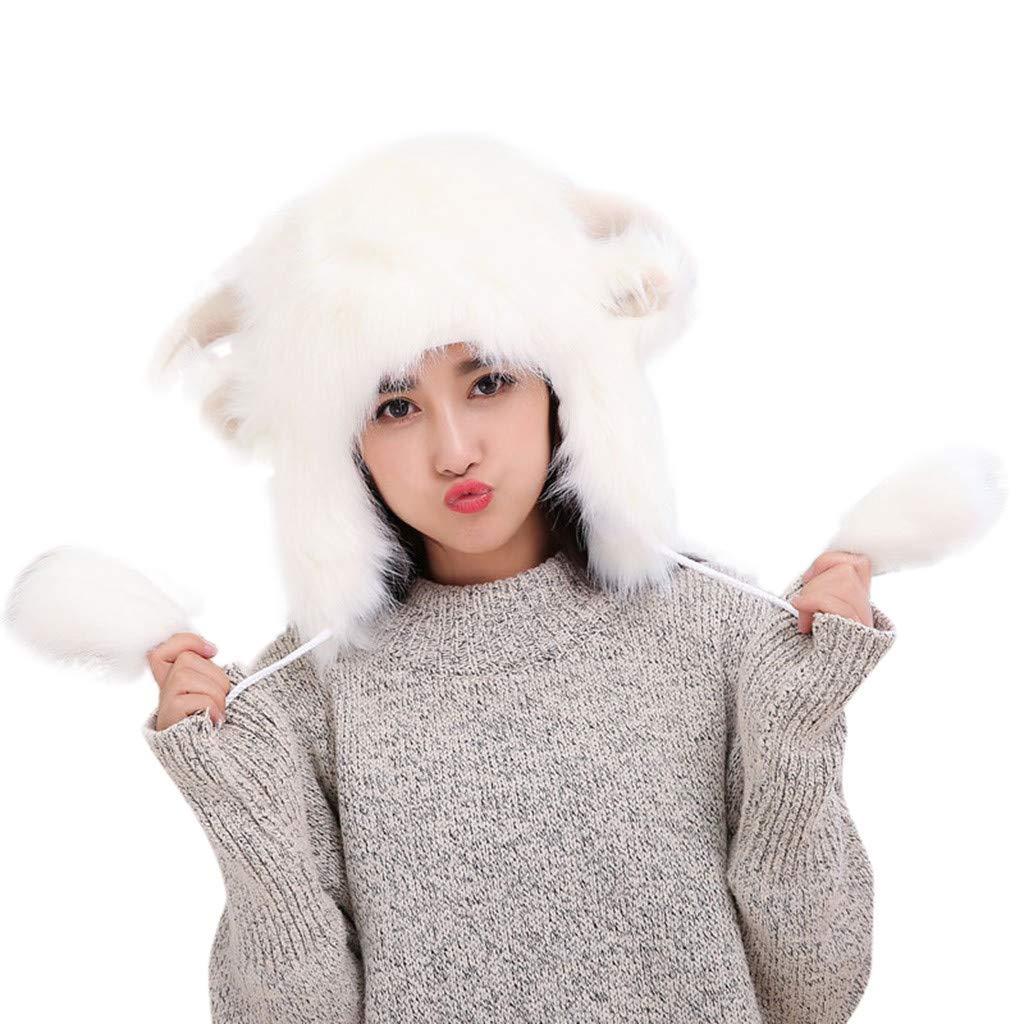 Jialili Unisex Winter Hat with Pom Poms Cute Sheep Horn Shape Faux Fur Cap Earmuff Warm Fluffy Costume Hat by Jialili