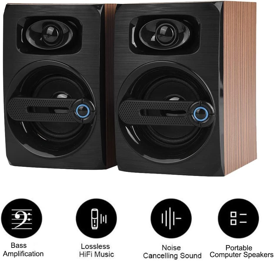 Diyeeni Portable Bass Computer Speakers,Acoustic Guide Holes Design Lossless PC Subwoofer HiFi Music Player with Bass Amplification,Noise Cancelling Sound
