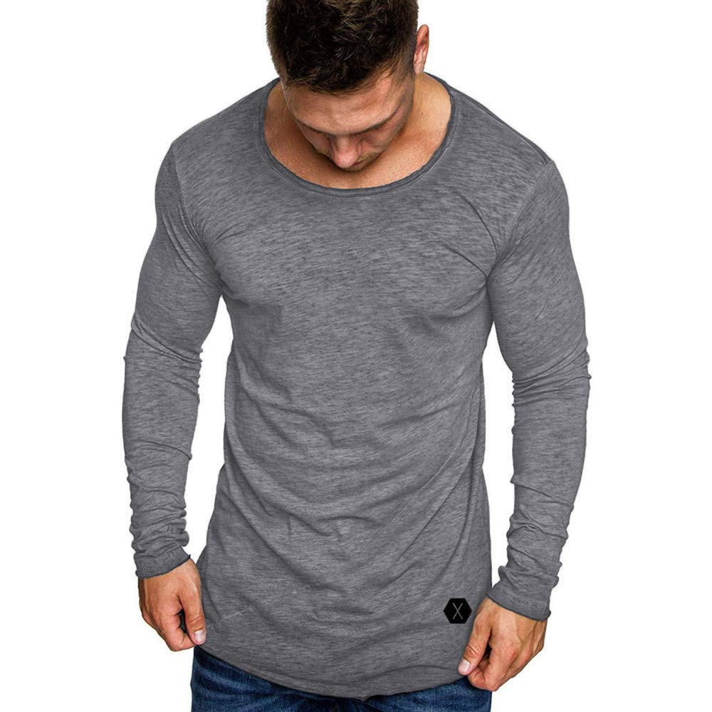 Dressin_Men's Clothes Clearance!Men's Fashion Pure Autumn Fashion Casual Slim Fit Muscle V-Neck T-Shirt Top Blouse minRan Dressin0919