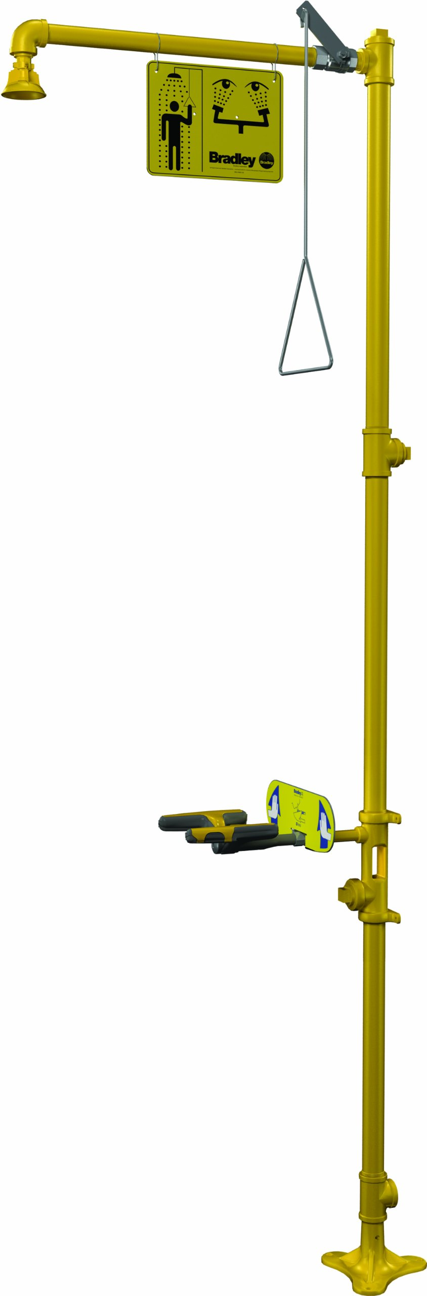Bradley S19-310GG Galvanized Steel 3 Spray Head Combination Drench Showers and Eye/Face Wash Unit with Plastic Showerhead, 20 GPM, 9'' Width x 88-1/2'' Height x 25-3/8'' Depth, Yellow