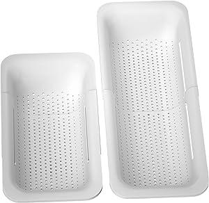 Expandable Colander Strainer Basket, BUYAOBL Strainer Basket Retractable Plastic Fruit Vegetable Colanders Strainers, Kitchen Multifunctional Collapsible Colander(Length 14.3-19.4inch,White)