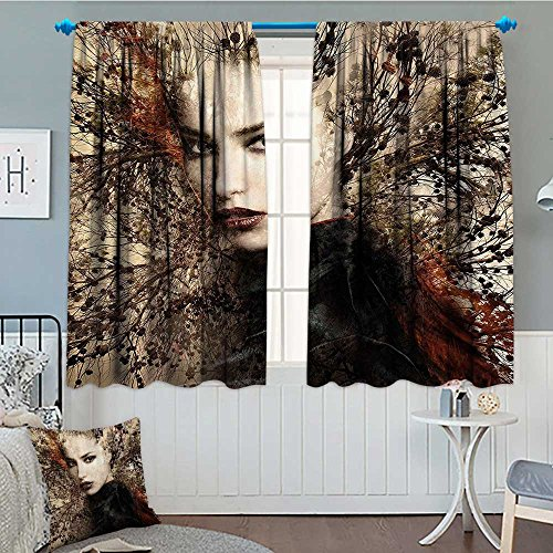 Nature Waterproof Window Curtain Woman Portrait Double Explosure With Tree Wild Sensual Natural Artwork Blackout Draperies For Bedroom 84″x84″ Brown Red and Black