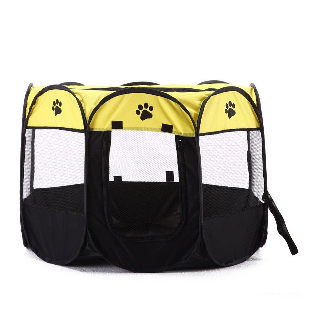 Yellow feelingood Pet Cat Dog Puppy Fence Tent Playpen 8 Panels Foldable Portable House Double Doors