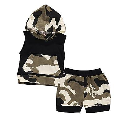 8b853954427bf Ularmo® Bébé Garçon Fille Ensemble T-shirt Haut Blanc Ramure Imprimée  Shorts Pantalon Couleur